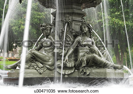 Stock Image of Tourny Fountain, Place de l'Assemblee.
