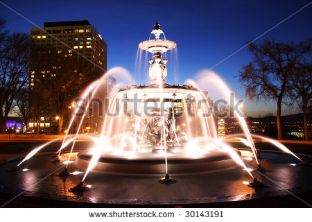 Quebec City Night Scene In Downtown. Fountain: Fontaine De Tourny.