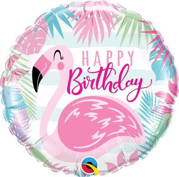 Pink Flamingo Happy Birthday Foil Balloons (18.
