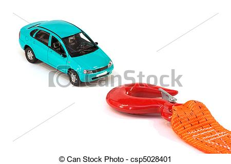 Stock Photography of The car and the tow rope.
