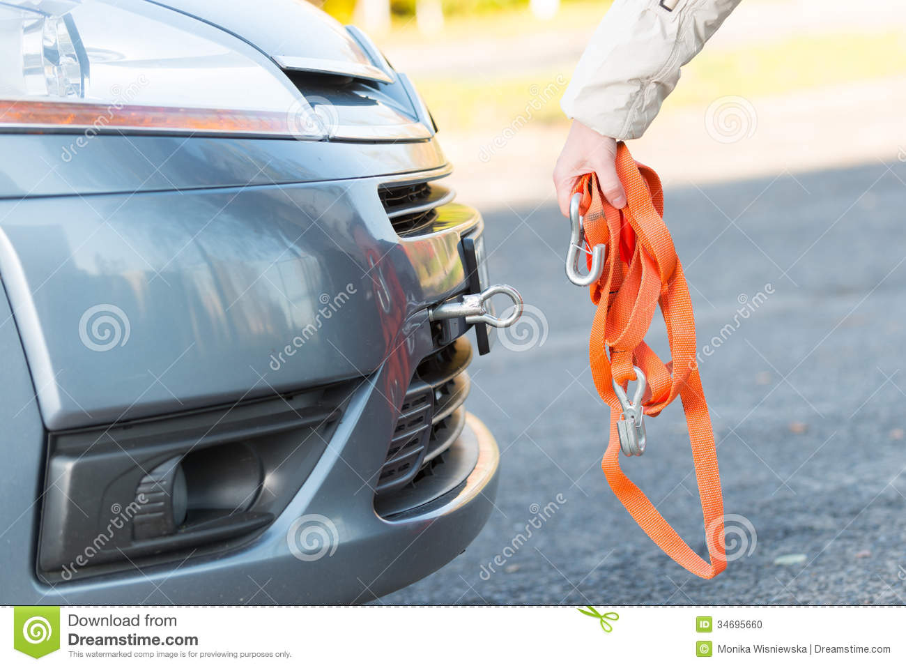 Hand Holding Tow Rope Stock Photography.