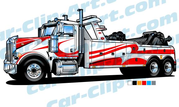 Big Rig Tow Truck Vector Clip Art.