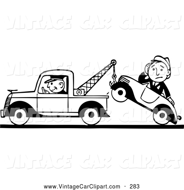 Clipart of a Black and White Old Fashioned Tow Truck Driver and.