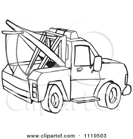 Clipart Black And White Towing Truck.