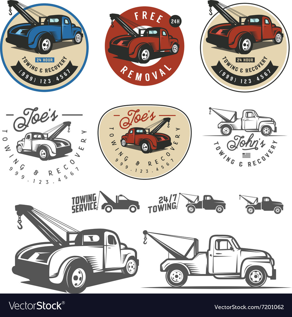 Vintage car tow truck emblems and logos.