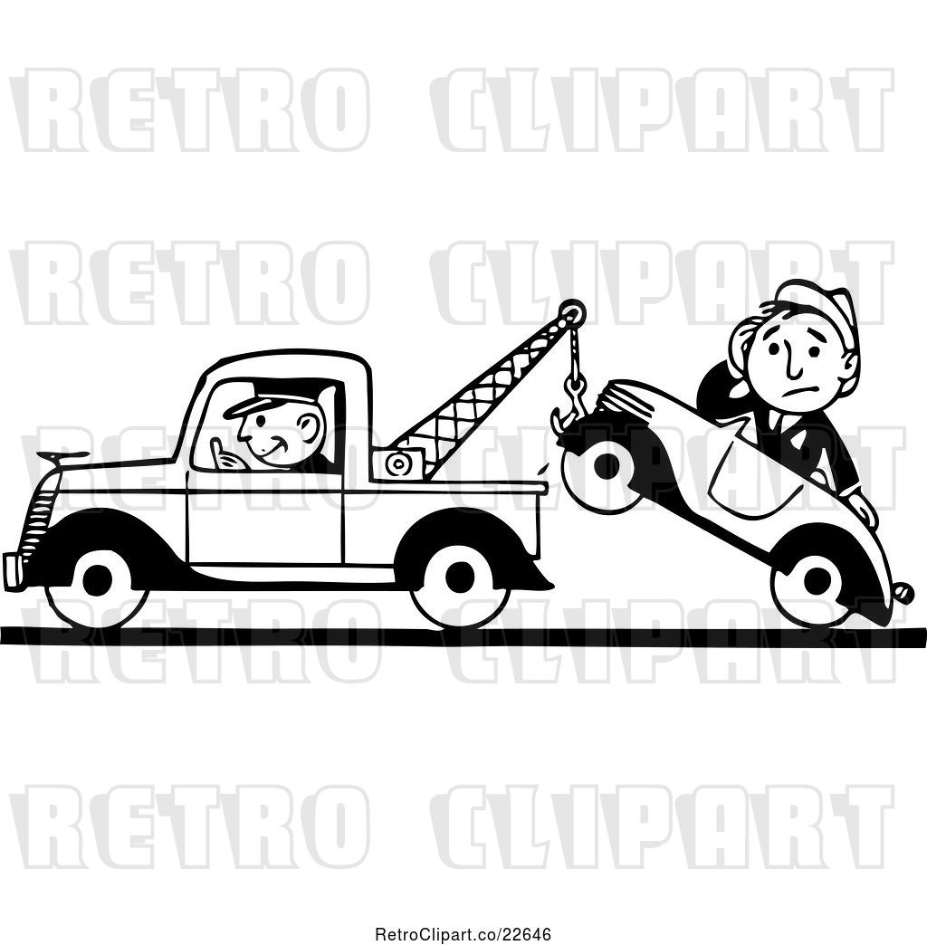 Vector Clip Art of Retro Tow Truck Driver and Guy in a Car.