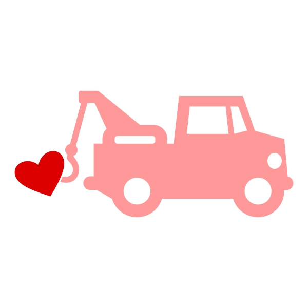 Heart Tow Truck Cuttable Design.