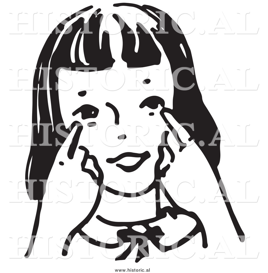 Historical Clipart of a Girl Pointing Towards Her Eyes.