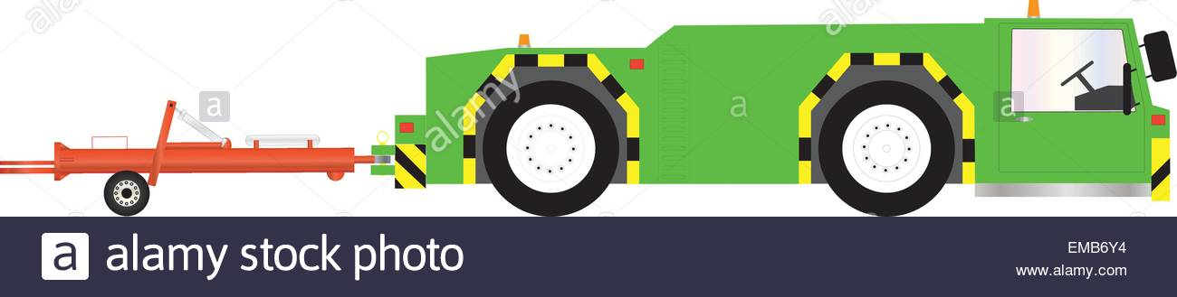 A Green Airport Pushback Tractor And Towbar Stock Vector Art.