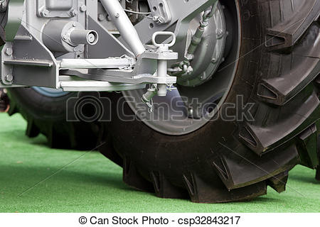 Stock Photography of Tractor hitch and tow bar.