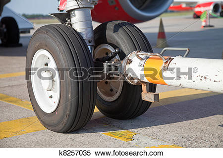 Stock Image of Tow bar and nosewheel k8257035.
