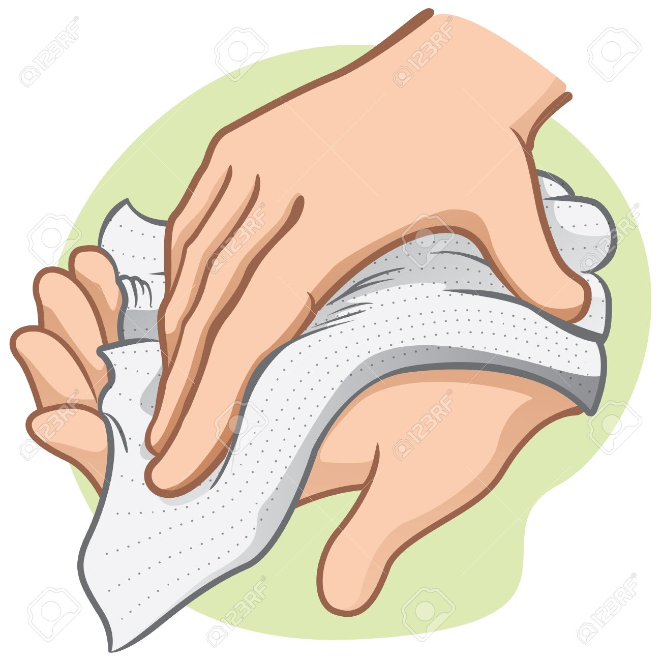 Drying Hands With Paper Towel Clipart.