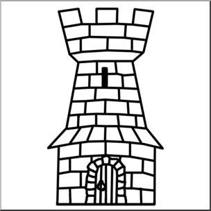Clip Art: Heraldry: Heraldic Tower B&W.