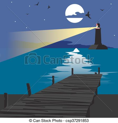 Clipart Vector of Summer beach landscape at night with a wooden.