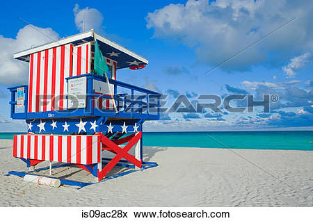 Picture of Lifeguard tower, South Beach, Miami, Florida, USA.