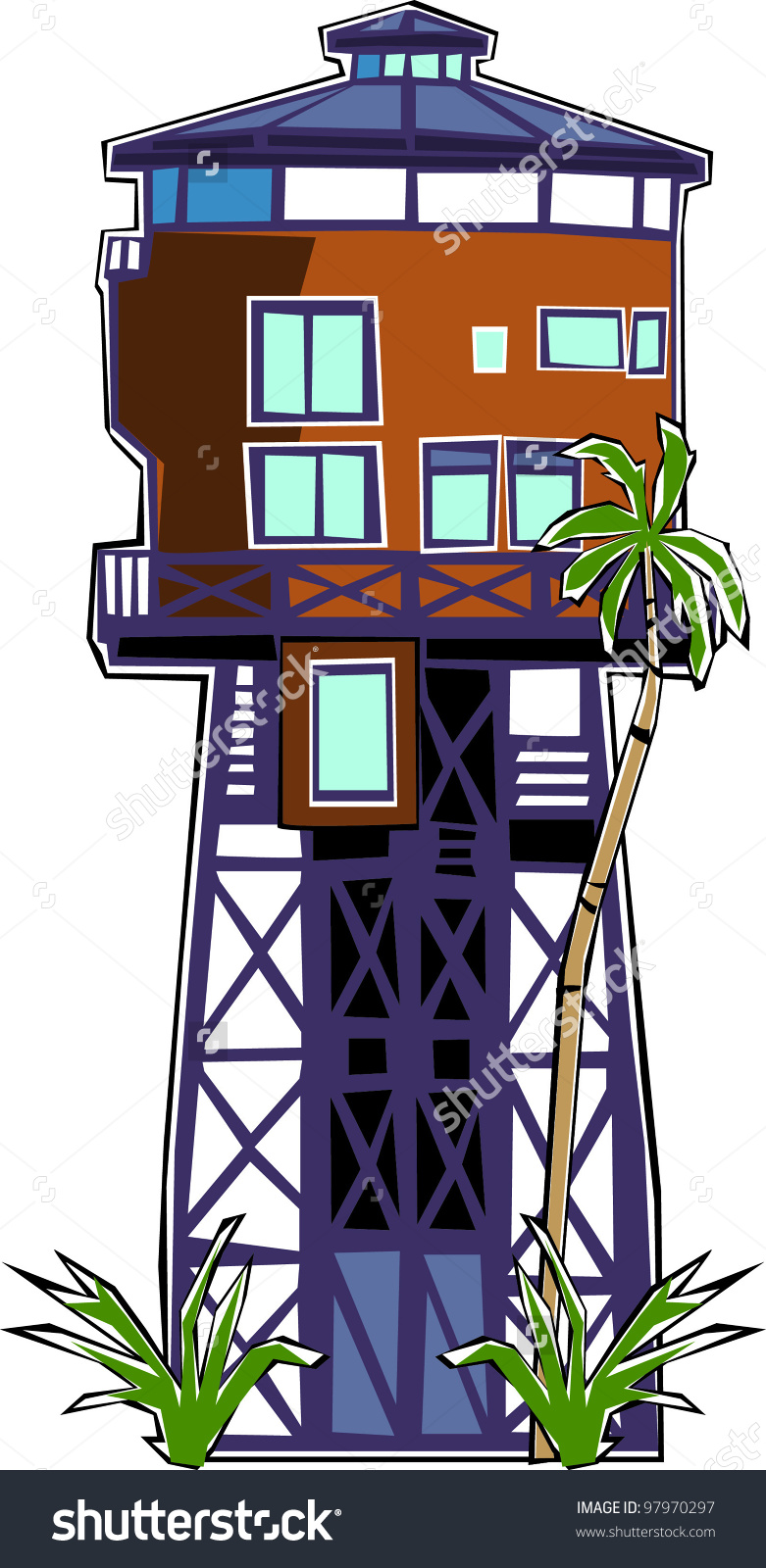 Tropical Water Tower Beach House Stock Vector Illustration.