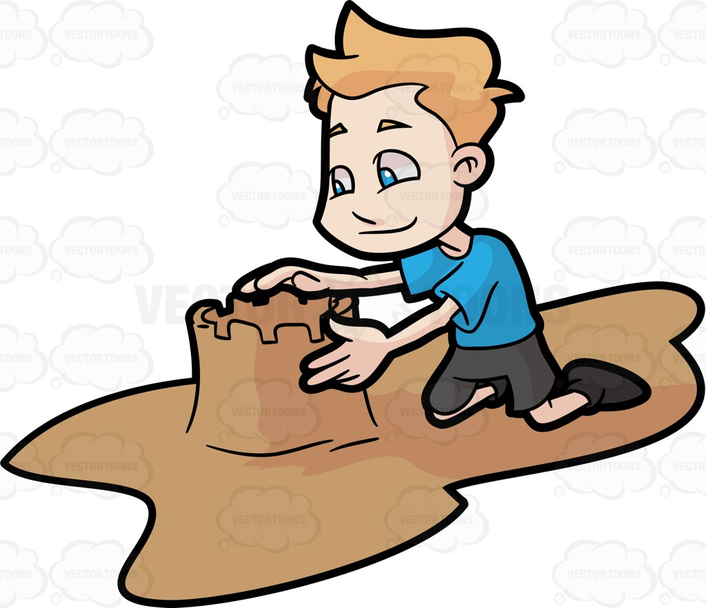 A Young Boy Building A Sand Castle Tower In The Beach Cartoon Clipart.