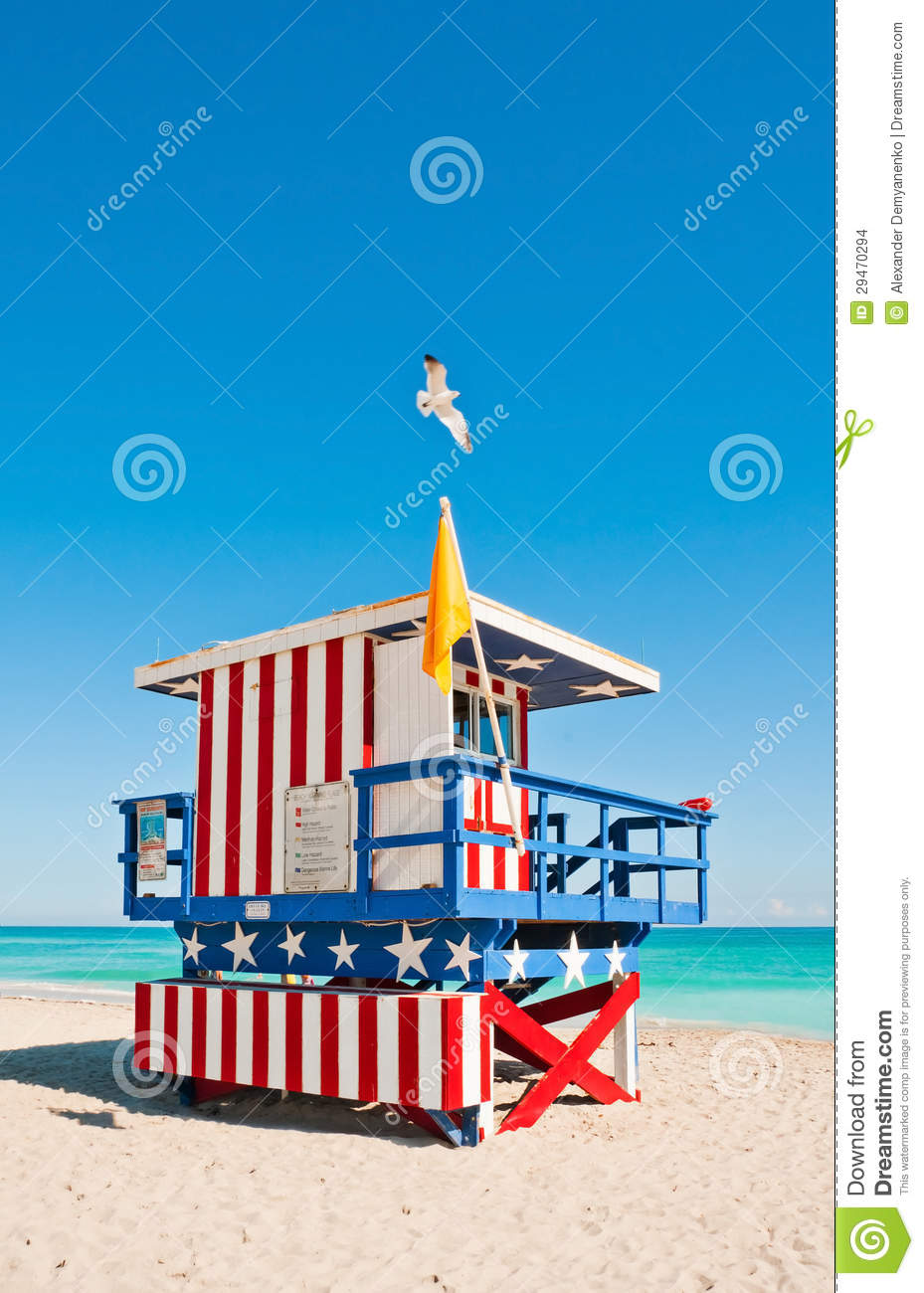 Lifeguard Tower In Miami Beach, USA Stock Images.