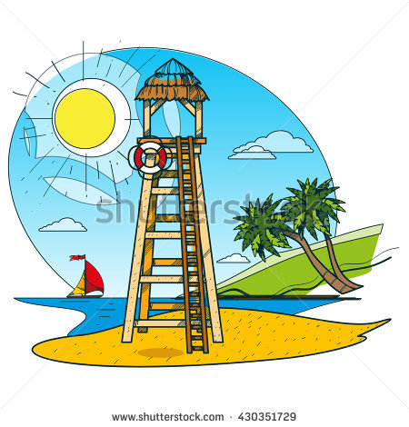 Lifeguard Tower On Beach Outline Drawings Stock Vector 429791938.
