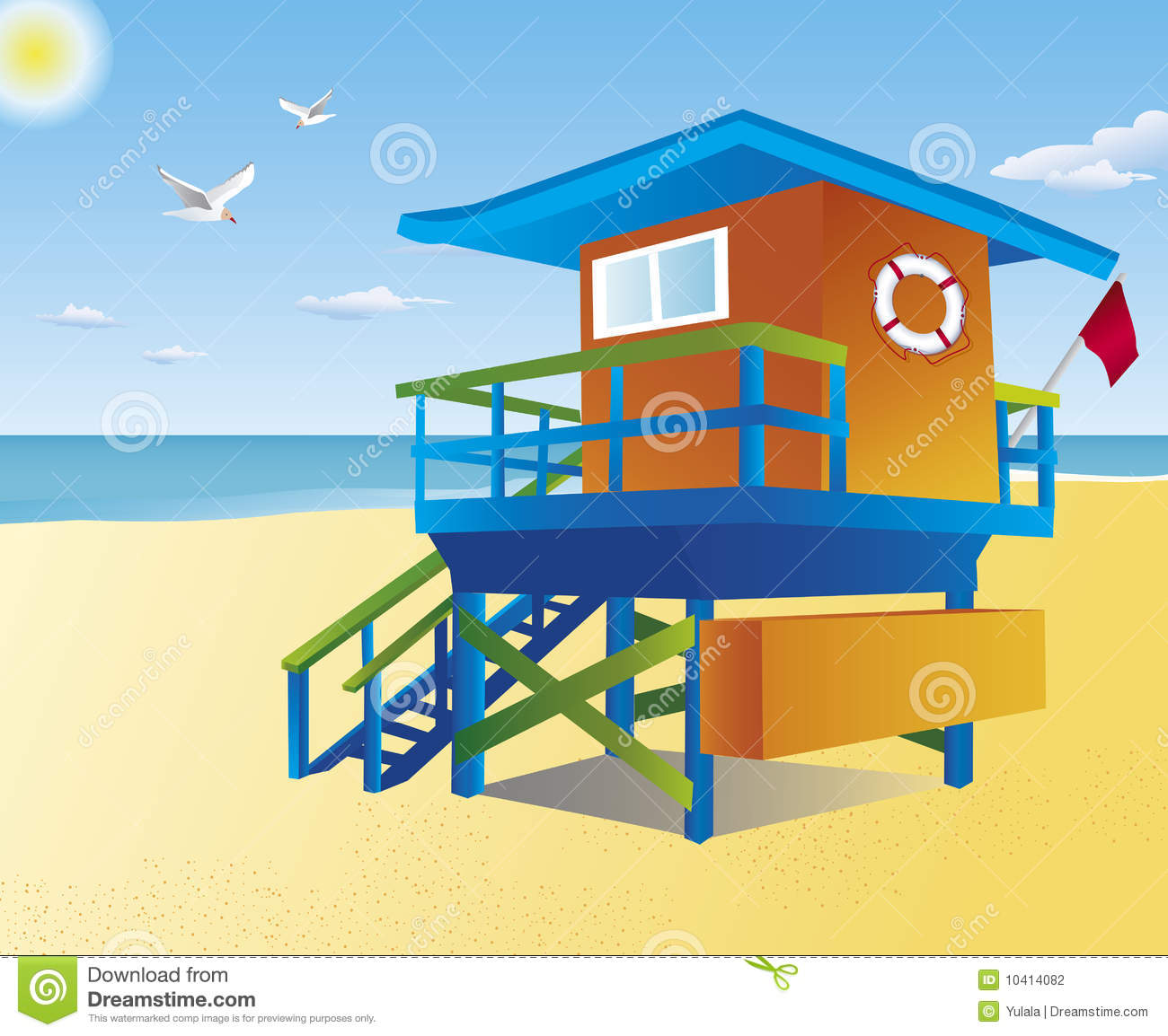 Lifeguard Tower On A Beach Stock Photography.