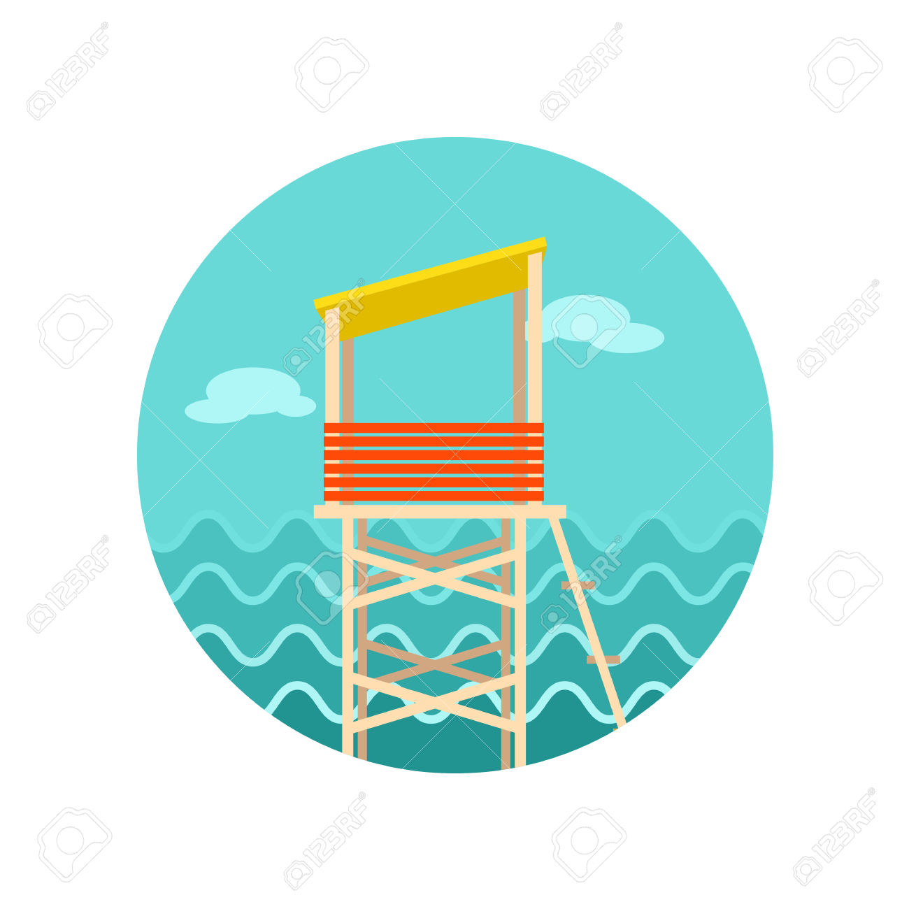 Lifeguard Tower Vector Icon. Beach. Summer. Summertime. Vacation.