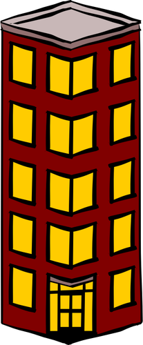Vector clip art of slim detached tower block.