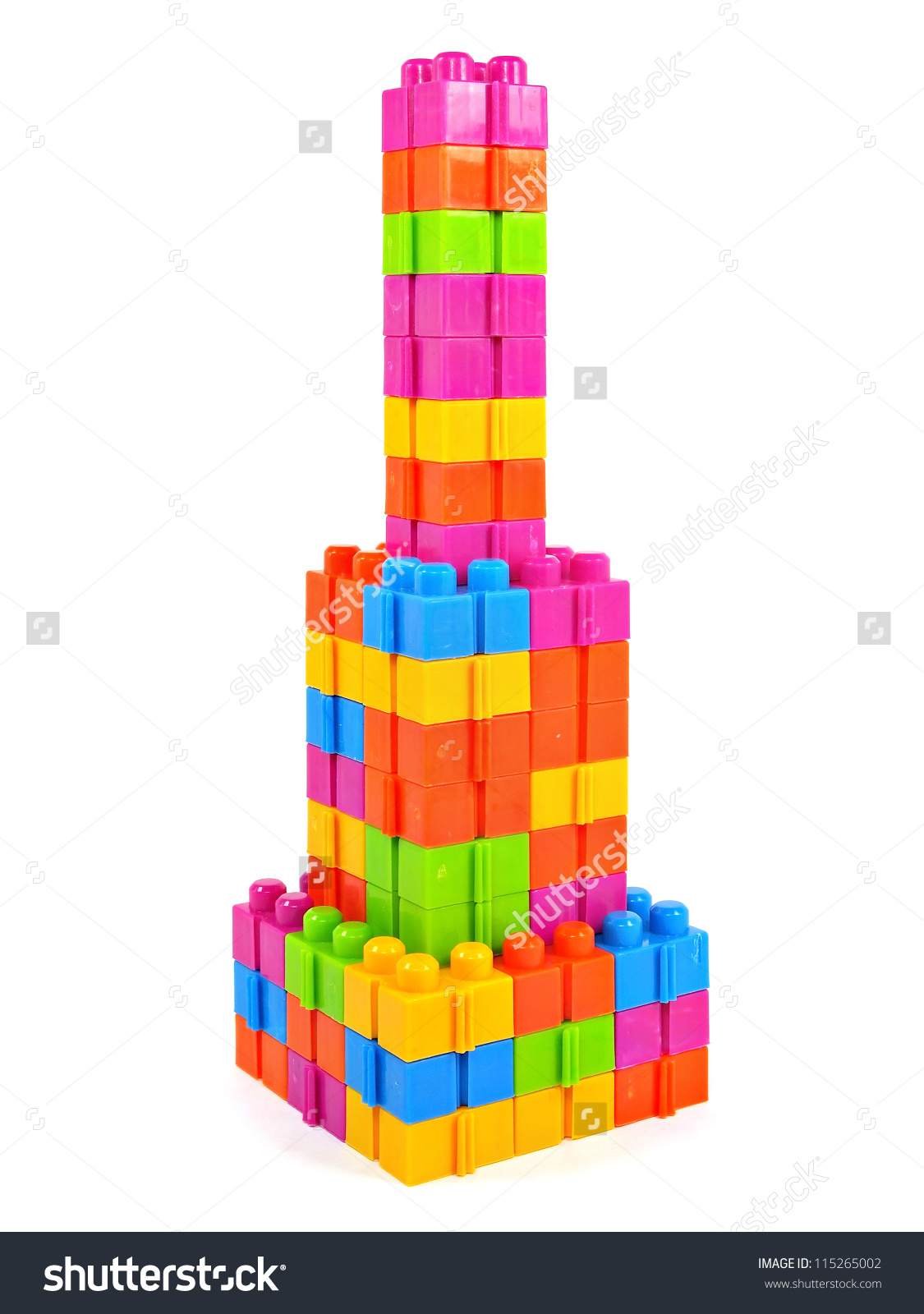 Plastic Building Blocks Tower On White Stock Photo 115265002.
