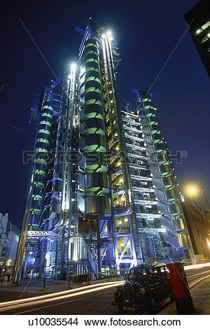 Stock Photo of Lloyds of London Building at night. London. United.