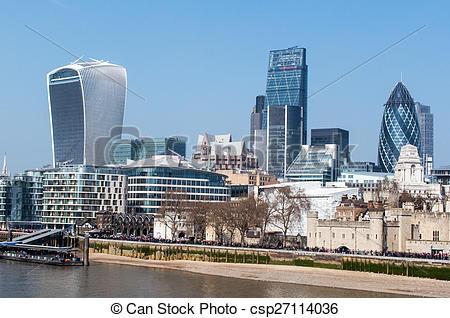 Stock Photos of London skyline from Tower bridge, London, UK.