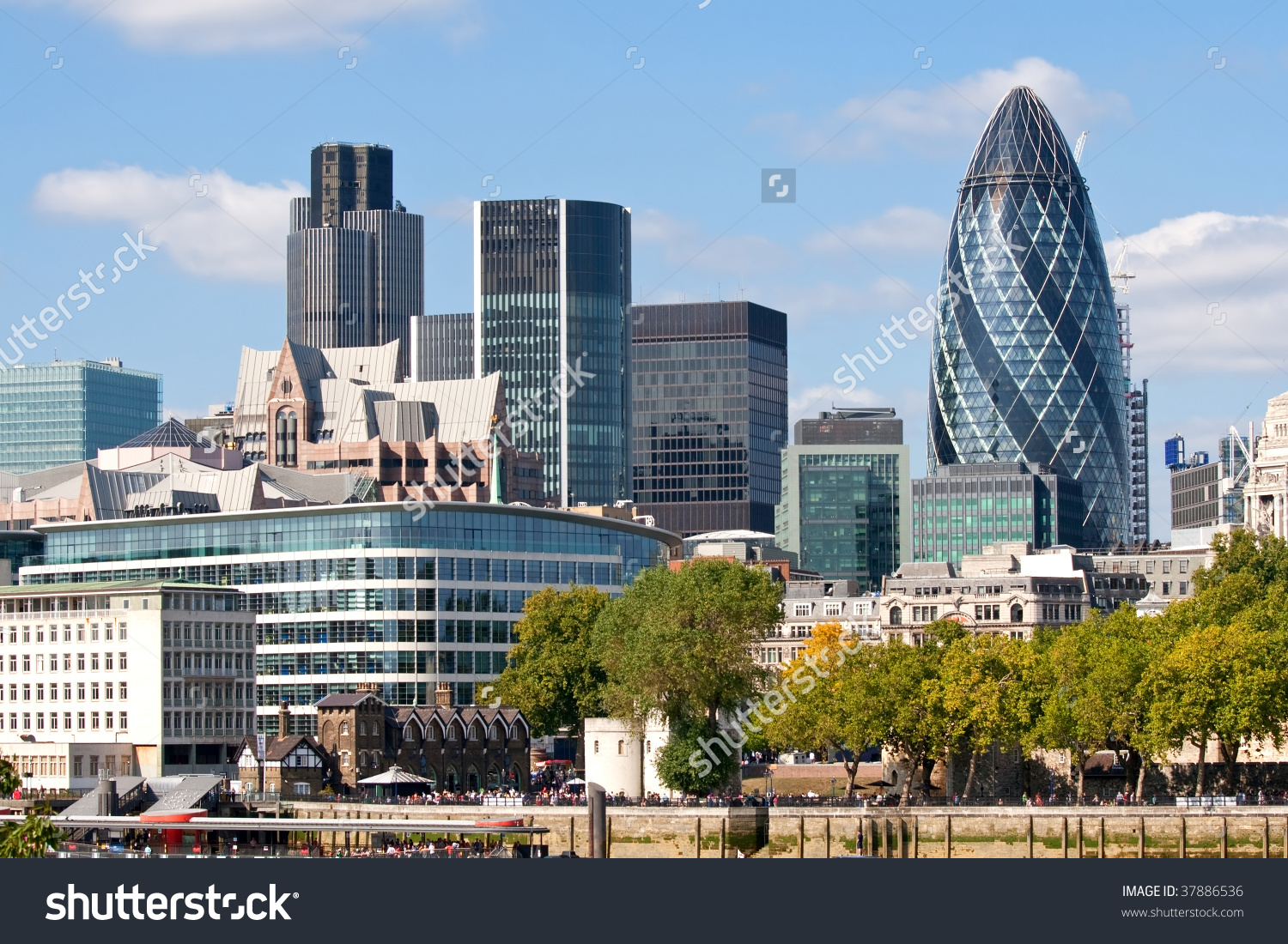 Modern London City Skyline Along River Stock Photo 37886536.