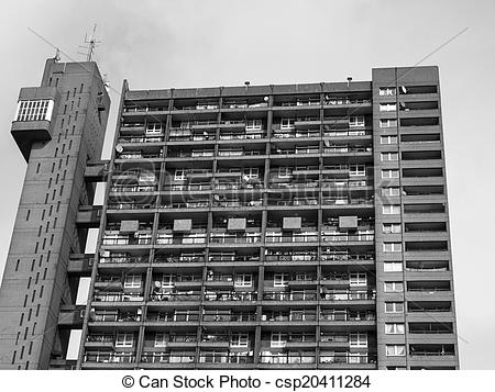 Pictures of Black and white Trellick Tower in London.