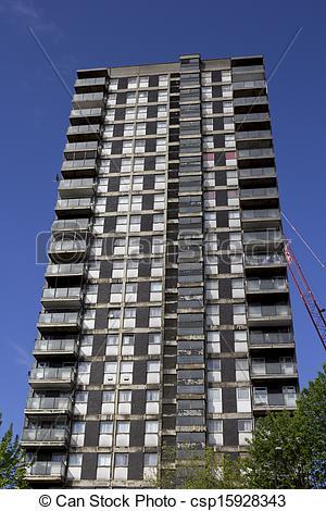 Stock Photo of Run down tower block.