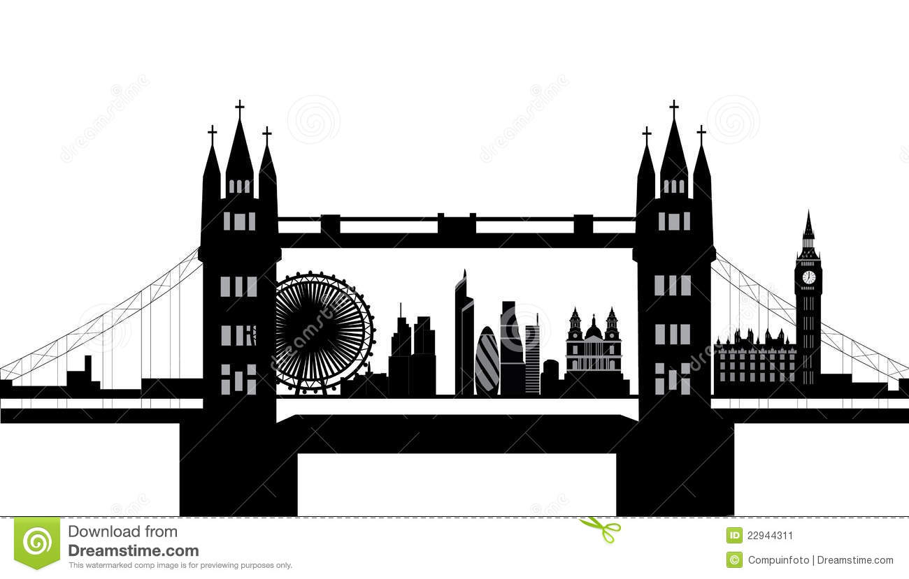 London bridge silhouette clipart.
