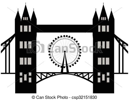 Vectors of Image of cartoon Tower bridge and london eye silhouette.