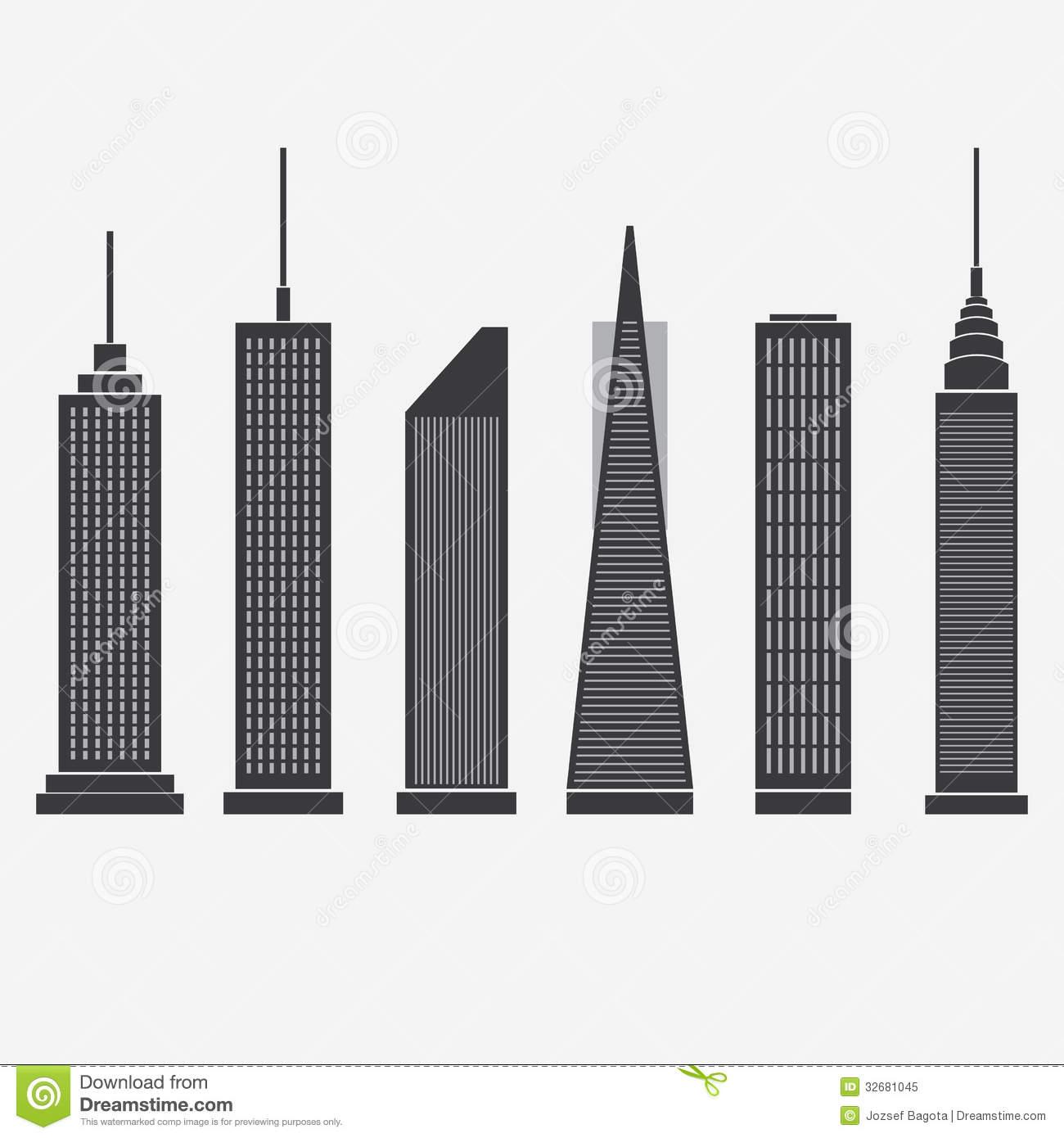 Skyscraper Icons Royalty Free Stock Photo.