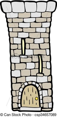 Vector of cartoon old castle tower.