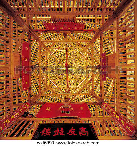 Stock Photography of ceiling of Drum Tower at Sanjiang,Guangxi.