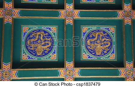 Stock Photographs of Dragon Ceiling Longevity Hill Tower of the.