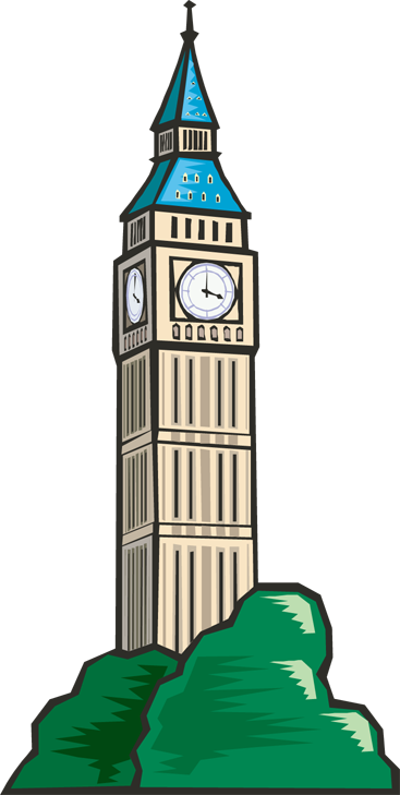 Tower clock clipart.