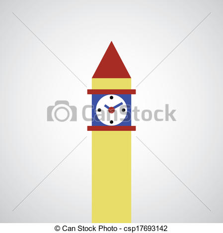 EPS Vector of clock tower symbol on gray background csp17693249.