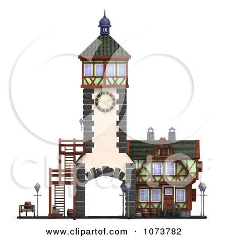 Clipart 3d Medieval Clock Tower Building 3.