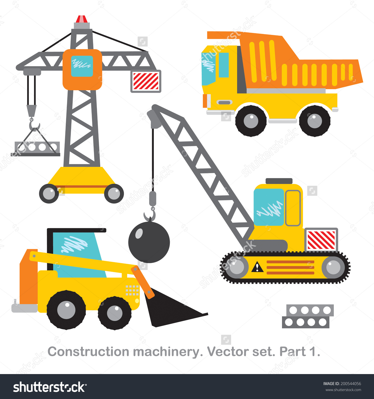 Vector Set Clip Art Construction Machinerypart Stock Vector.