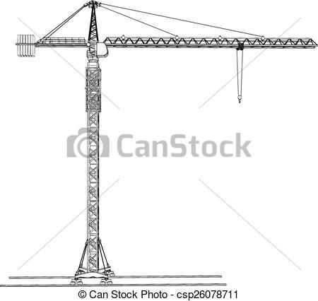 Vector Clip Art of Tower construction crane. Vector rendering of.