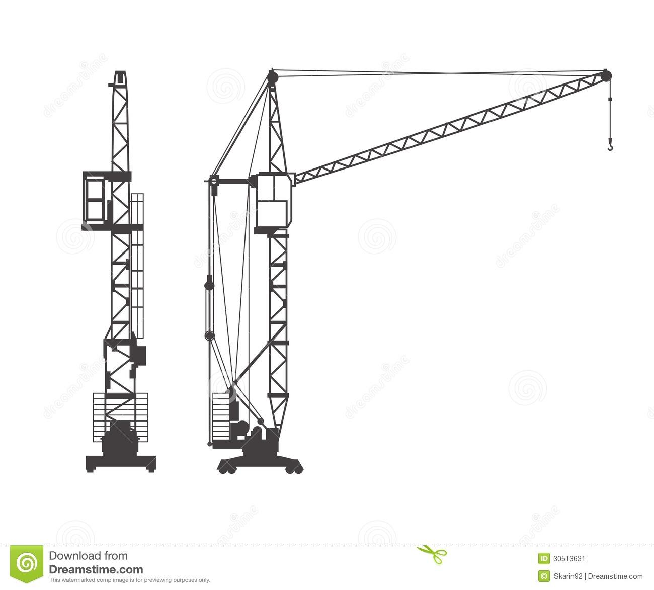 Construction Crane Silhouette Clipart.