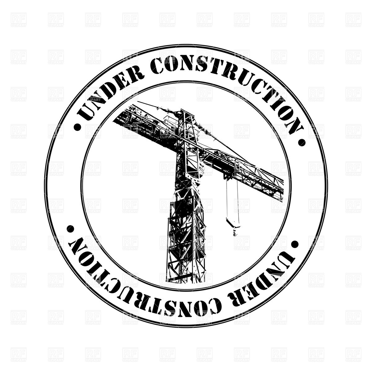 Under Construction stamp with tower crane Vector Image #6814.