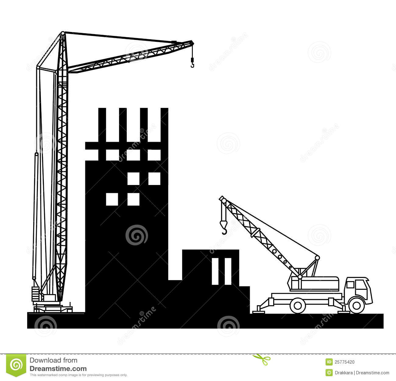 Construction Of Buildings Wich Crane Stock Photo.