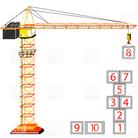 Silhouette of a tower crane Vector Image #6656.