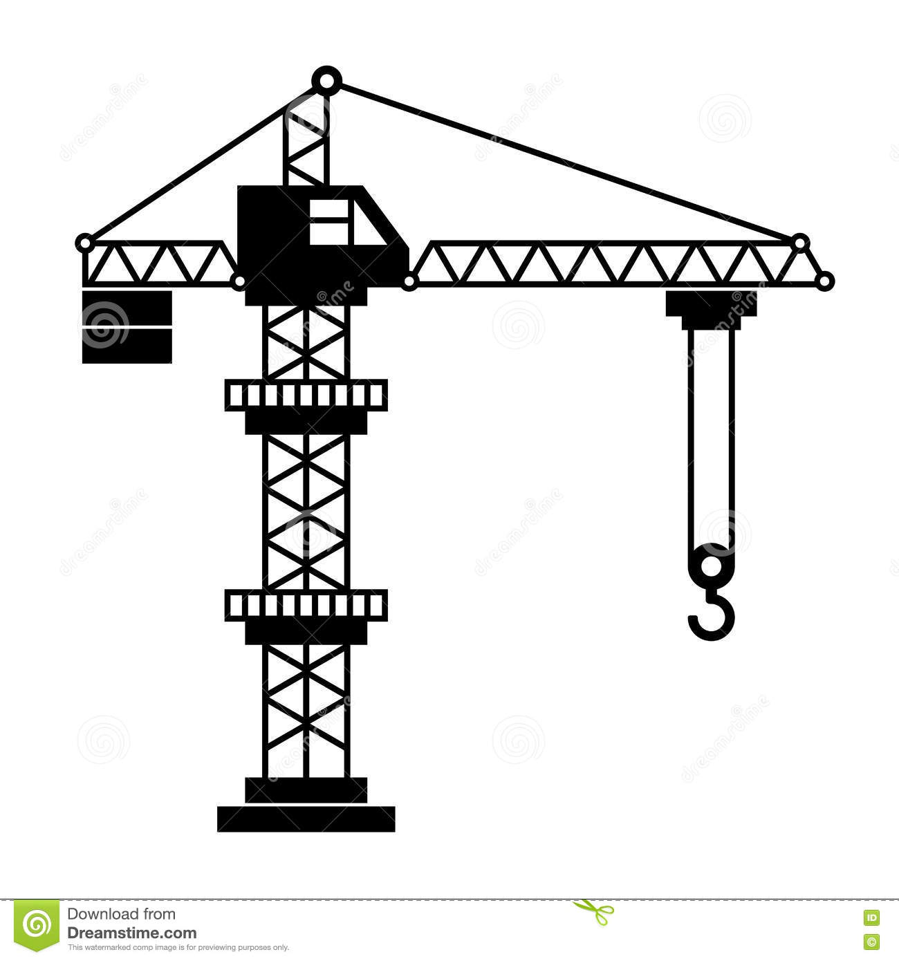 Vector Tower Crane Stock Vector.