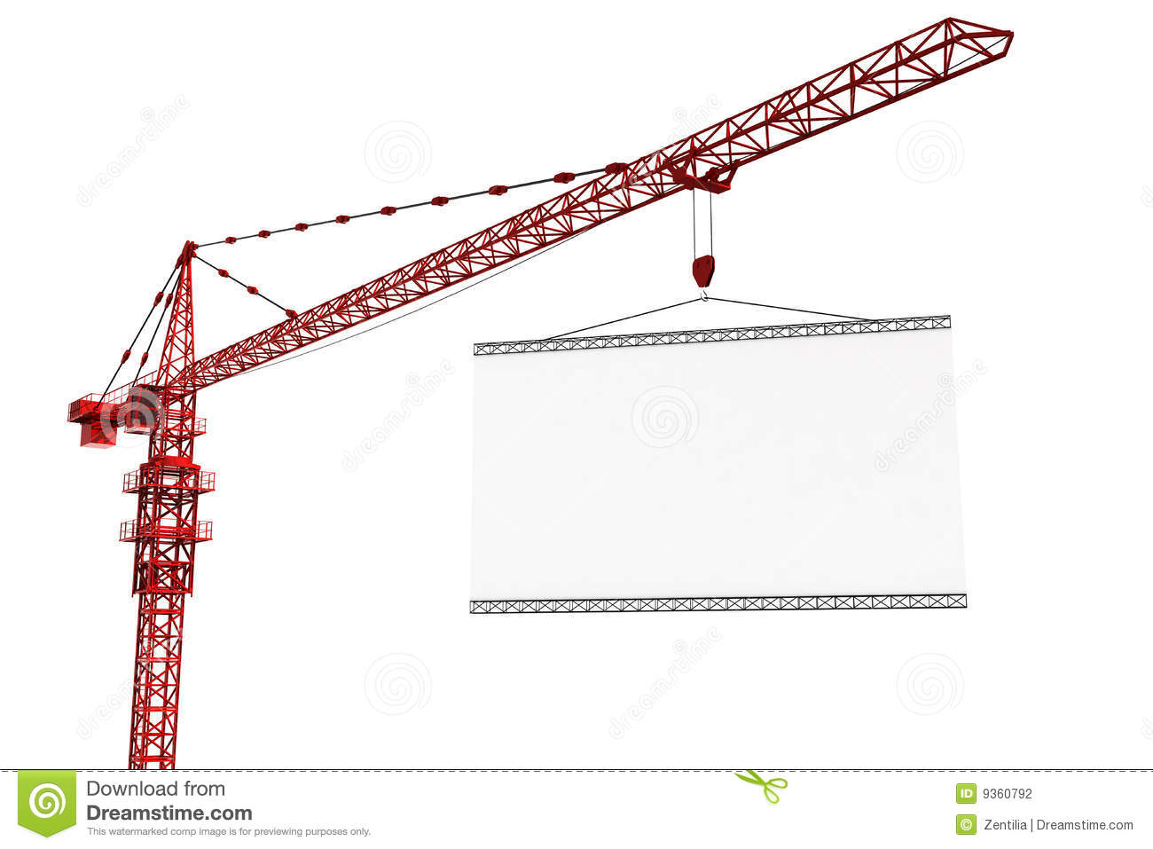 Tower Crane With Empty Sign Stock Photography.
