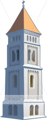 Realistic Church Tower Topped with Cross.
